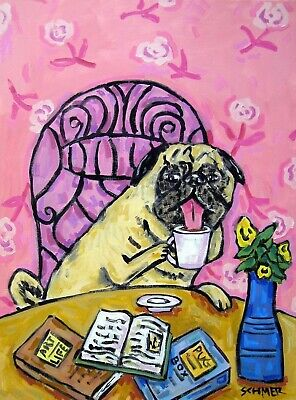 Pug coffee Art Print Poster of Painting Modern Abstract Kitchen Art 11x17 glossy