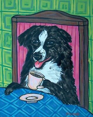 Australian Shepherd dog coffee signed art artist print 11x17 glossy animals gift