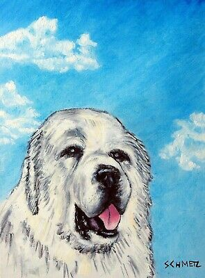great pyrenees signed art PRINT 11x17 glossy impressionism animals dog gift new