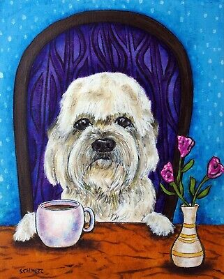 DANDIE DINMONT dog coffee signed art artist print 11x17 imressionism gift new