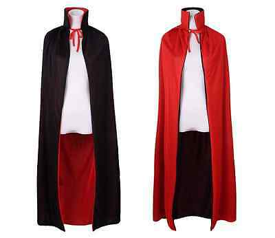 """55"""" Stand Collar Reversible Cloak Masquerade Cape Costume, Black and Red"""