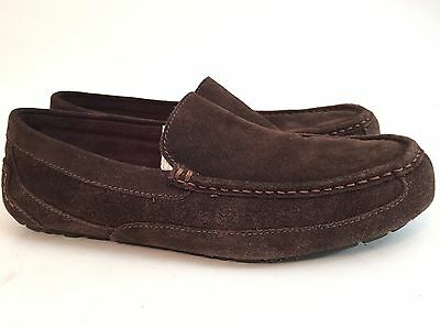 UGG AUSTRALIA (11) Brown Suede Shearling Slippers Men's Size 10.5, 11