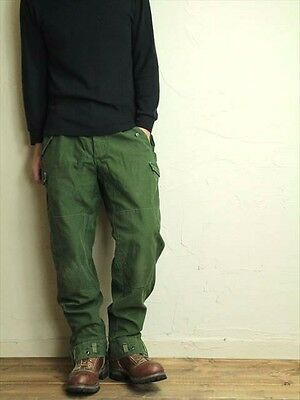 Vintage Swedish army M59 trousers green khaki pants military olive cargo combat