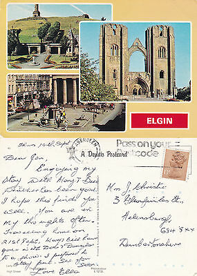 1980's MULTI VIEWS OF ELGIN MORAY SCOTLAND COLOUR POSTCARD (a)