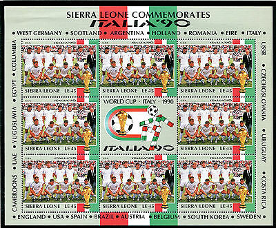Sierra Leone 1990 Italy World Cup Sheetlet United States Team Mnh