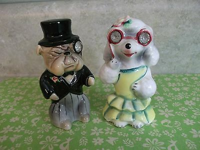 VTG.DOG FIGURINES,OFF TO THE OPERA~salt and pepper shakers~ENTERPRISE EXCLUSIVE