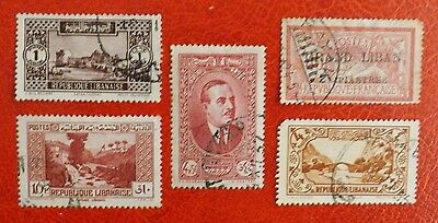 Lebanon, Early used stamps x 5