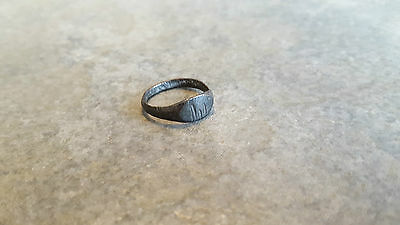 Ancient Roman Bronze RING (#15) Three Notched Bezel, 15 mm, Wearable and Intact