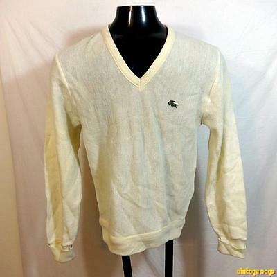 Vintage USA 80s IZOD LACOSTE Orlon Acrylic V-neck Sweater JACKET Mens S Cream