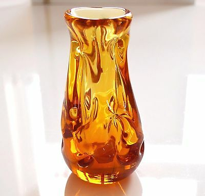Rare Whitefriars 1980 Full Lead Crystal Art Glass Knobbly Vase In Gold 9856