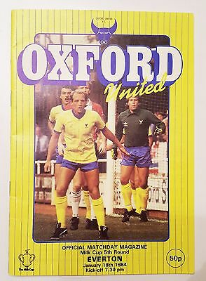Oxford United v Everton 5th round Milk Cup programme 1984