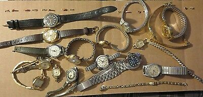 16 vintage ladies manual wind watches Timex Gruen Caravelle Lucerne Sport