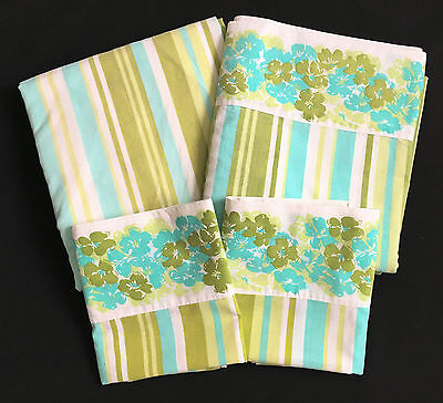 Texmade Aqua Green Floral Stripe Double Bed Sheet Set Flat Fitted 2 Pillowcases