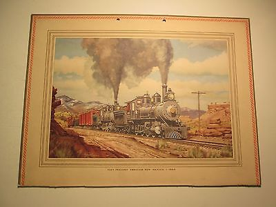 Vintage Railroad Print Signed Howard Fogg Fast Freight Through New Mexico
