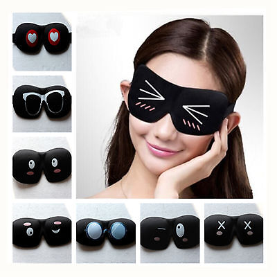 3D Cute Cartoon Soft Eye Mask Blindfold Shade Travel Rest Sleeping Aid Cover