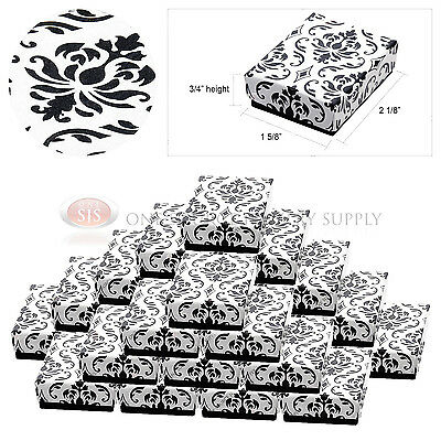 "25 Black Damask Print Cotton Filled Cardboard Jewelry Gift Boxes 2 1/8"" x 1 5/8"""