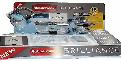 Rubbermaid Brilliance Food Storage 100% Leak-Proof Guaranteed 18 Piece Set