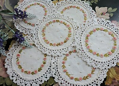 Vintage Cocktail napkins/ doilies  with floral embroidery lot of 6