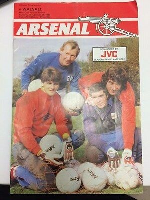 Arsenal v Walsall, Milk Cup 4th Round, Tuesday 29th November, 1983 Programme