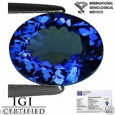 1.75 Ct IGI Certified AA Natural D Block Tanzanite Blue Violet Color Oval Cut
