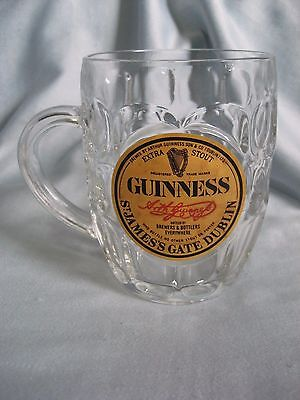 Guinness Irish Stout Faceted Dimpled Glass Beer Mug~18 oz.