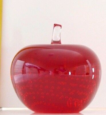 Rare Whitefriars Art Glass Apple Paperweight In Ruby Red
