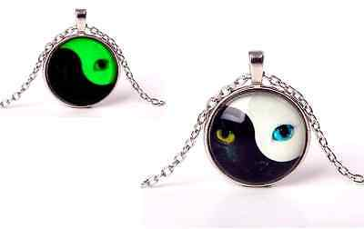 Glow in the Dark Cats Eyes Yin Yang Luminous Necklace Pendant in Gift Bag/Box