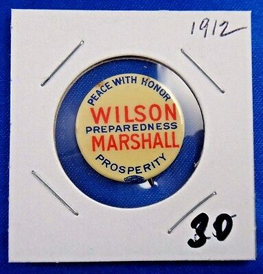 1912 Wilson Marshall Peace with Honor Political Campaign Pin Pinback Button