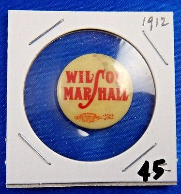 1912 Woodrow Wilson Marshall Presidential Political Campaign Pin Pinback Button