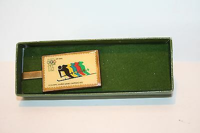 1972 Sapporo Winter Olympic Games Solid Brass Tie Clip w/Commemorative Stamp NEW