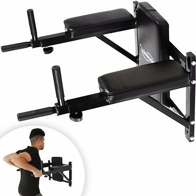 Dip Station Robust Versatile Padded Surface Wall Mounted Knee Bars Home Gym New
