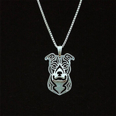 Pit Bull Dog Pendant Necklace Silver Plated ANIMAL RESCUE DONATION