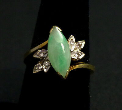 Vintage Chinese Apple Green Jade and Diamond 14k Gold Ring Size 7 3/4