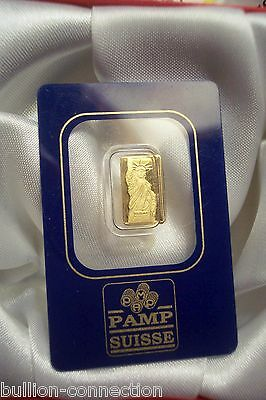 New Mint Sealed Rare Rare 1 Gram Gold Small Card Liberty Pamp Suisse .9999 Pure