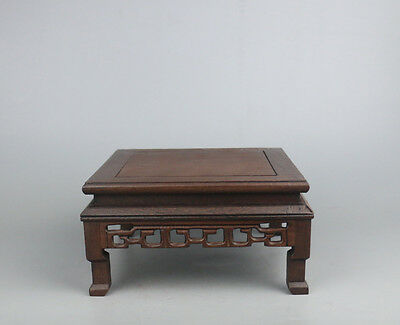 stand display pedestal brown wood carved China square wooden base 7""