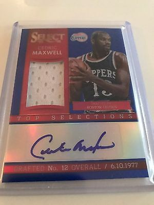 Cedric Maxwell 2013-14 Select Top Selections Jersey Auto Blue #/49 (LA Clippers)