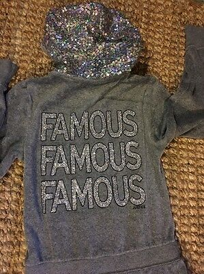 Girls Justice Velour One Piece Romper Famous Glitter Bling Hoodie Size 10