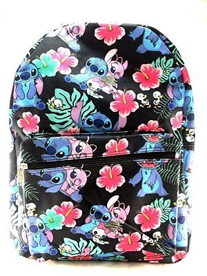 """Disney Lilo and Stitch Allover Black 16"""" Girls Large School Backpack"""