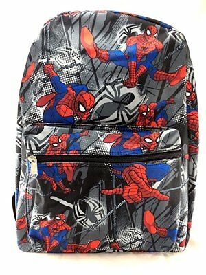 "Spiderman Black Allover Print 16"" Boys Large School Backpack"