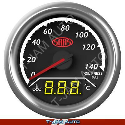 Dual Gauge Oil Pressure / Water Temp 52mm Gauge SAAS Trax NEW
