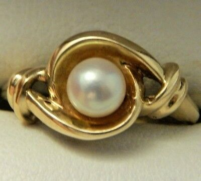 10k Yellow Gold 5.5mm Cultured Pearl Ring Size 6 Free Sizing