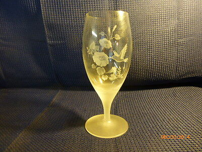 Avon Lead Crystal Frosted Hummingbird Iced Tea Water Glass Goblet Replacement B