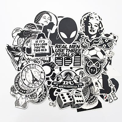 Stickerbomb 25 Mixed Stickers Black & White Laptop Phone Skateboard School Drift