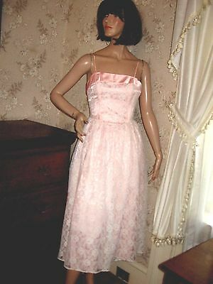 Lovely Vintage Glossy Pink Satin-White Lace Cocktail Party Dress W/crinoline