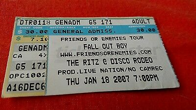 1 used FALL OUT BOY ticket stub CHARLOTTE NC 1/18/2007