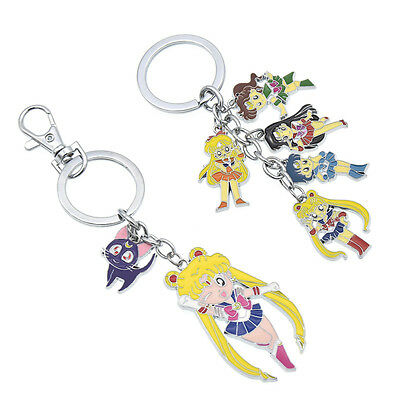 Japanese Anime Sailor Moon Alloy Keychain Pendant Keyrings Gift Bag Accessories