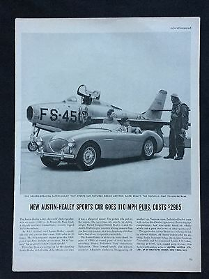1954 Vintage Automobile Magazine Ad ~ Austin Healey ~ F-84F Thunderstreak Jet