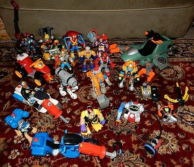 Large Lot of Fisher Price Rescue Heroes Action Figures Vehicles Accessories