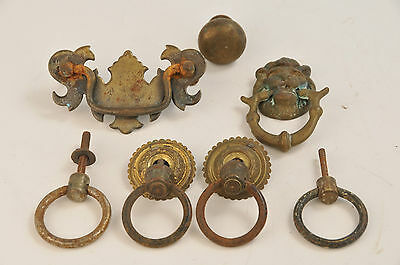 LOT Antique Brass Handles Bureau Drawer Pull Cupboard Old Hardware Lion Head