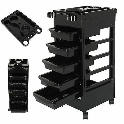 2 x Hair Beauty Coloring Salon Hairdresser 5 Drawers Storage Adjustable Trolley